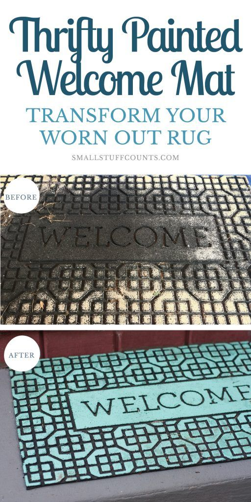 Thrifty Diy Painted Welcome Mat Small Stuff Counts Thrifty Diy Door Mat Diy Welcome Mats