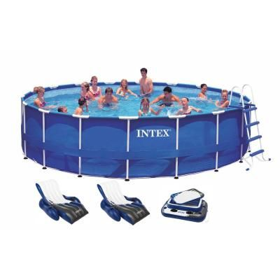 Intex 18 Ft X 48 In Deep Round Metal Frame Above Ground Swimming Pool With 1500 Gfci Pump 28253eh 2 X 58868ep 58821ep The Home Depot Intex Above Ground Swimming Pools Best Above Ground Pool