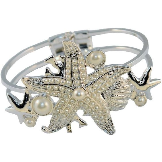 Starfish Bracelet Silver Plated White Faux Pearl Hinged Bangle Nicely... (€17) ❤ liked on Polyvore featuring jewelry, bracelets, white jewelry, silver plated jewelry, starfish bangle bracelet, bracelet jewelry and faux pearl bracelet