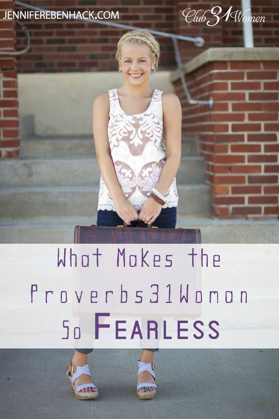 "How does the Proverbs31Woman ""laugh at the time to come""? What keeps her from worrying when our world is falling apart everywhere? She knows the future is uncertain, yet here's why she - and YOU - can be fearless! What Makes the Proverbs 31 Woman So Surp"