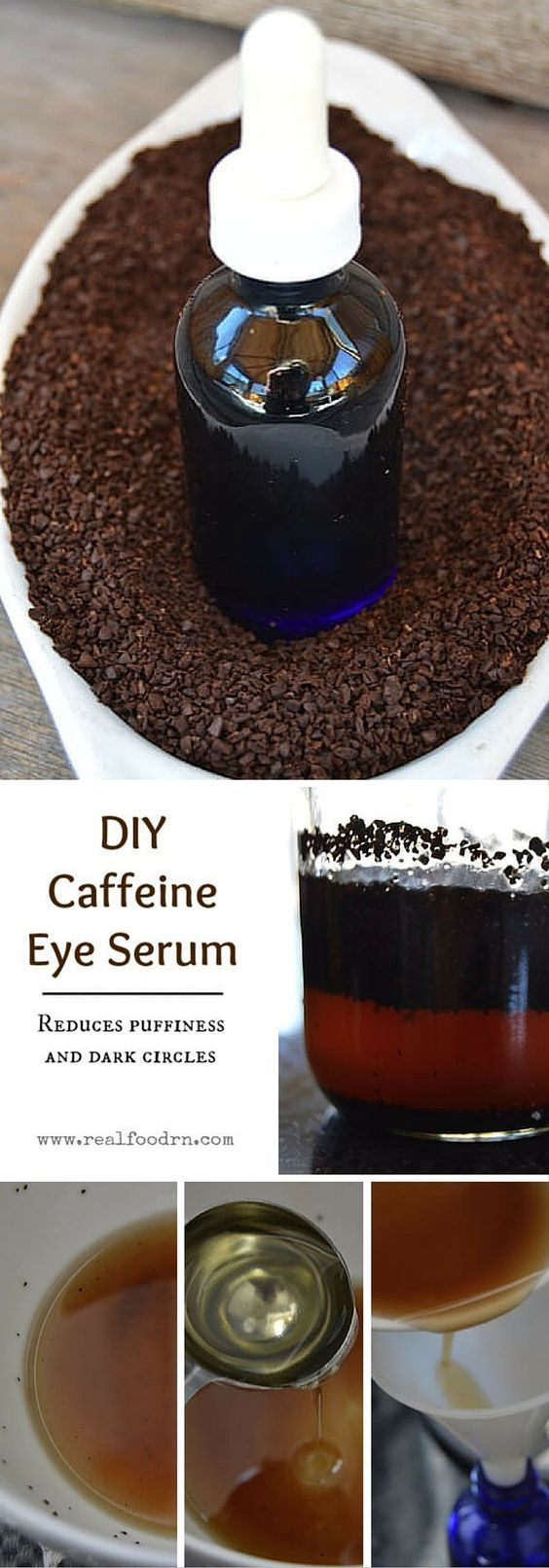 DIY Caffeine Eye Serum. So easy to make a non-toxic serum that helps reduce puffiness and dark circles. You will never pay the high price tag for the store bought stuff again! realfoodrn.com #caffeineeyeserum #serum
