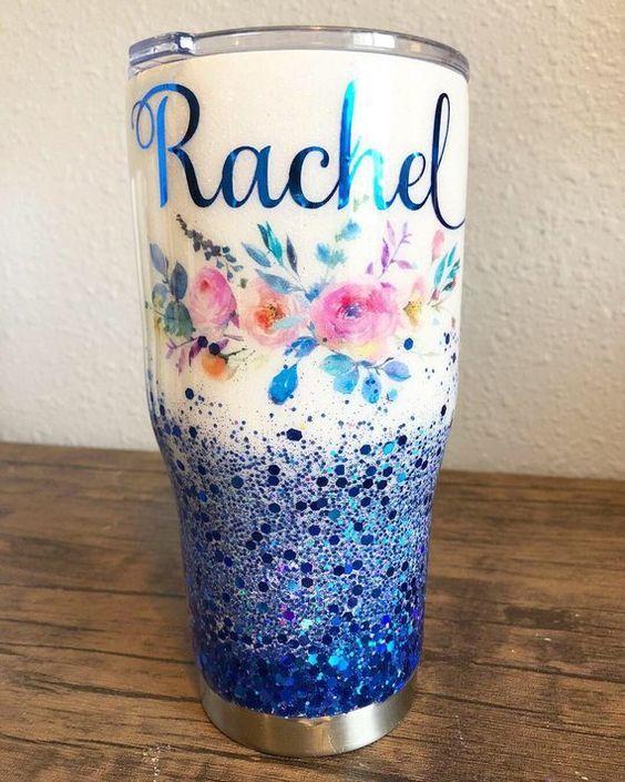 Floral Watercolor Glitter Tumbler Tumbler Designs Diy Tumblers