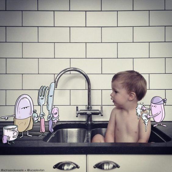 Ilustrador brasileiro adiciona Desenhos cômicos por cima de fotos de Estranhos no Instagram | Página Sensacional
