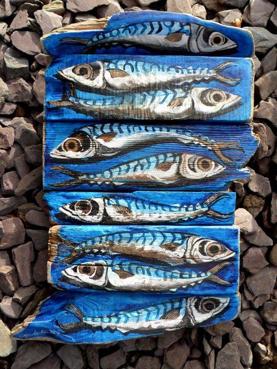 Peinture sur bois flott maquereaux driftwood for Peinture sur bois flotte