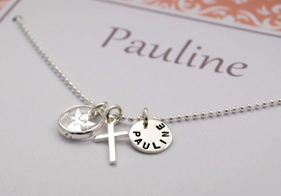 Kette mit Name zur Taufe, Gravur im Anhänger, Taufkette besteht aus Kreuz, Engel und Name auf Taufring, wunderschöner Schmuck zur Taufe / necklace with name for christening, engraved pendent, baptism nacklace with holy cross, angel and name of the child, beautiful accessory by Bloomgart via DaWanda.com