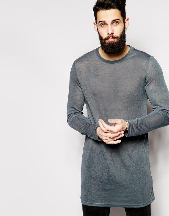 Image 1 ofASOS Super Longline Long Sleeve T-shirt In Textured Fabric