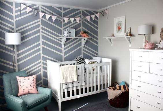 DIY herringbone accent wall - such a great modern touch to this #nursery! #DIY