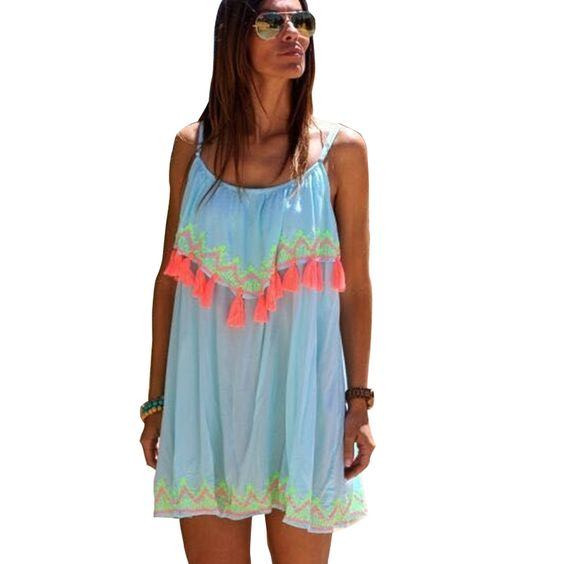 Vestido De Festa Printed Spaghetti Strap Summer Dress Beach Party ...