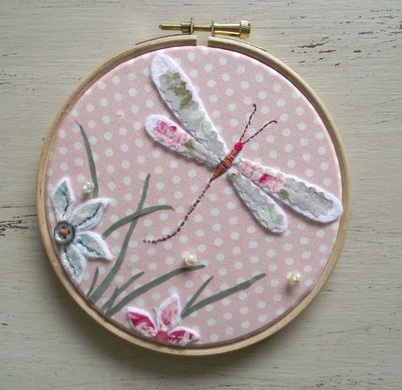 Dragonfly Hand Embroidered Hoop Art Picture In Pink - The Supermums Craft Fair: