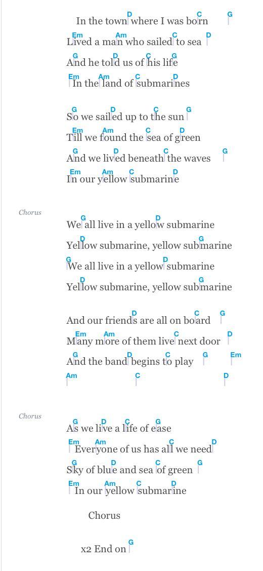 Yellow Submarine Yellow Submarine Lyrics Acoustic Guitar Chords Ukulele Songs