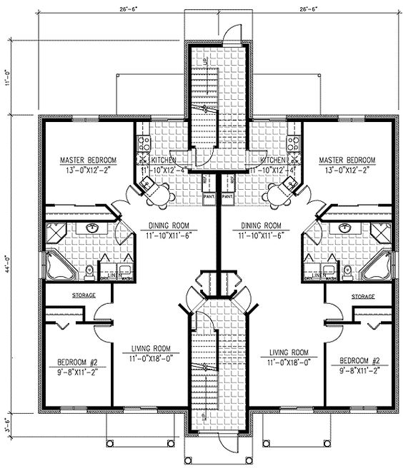 Plan PD  Six Plex Multi Family House Plan   Floor Plans    This multi family home plan offers living for six families  It is perfect for a condo or other higher density development Each bedroom unit offers