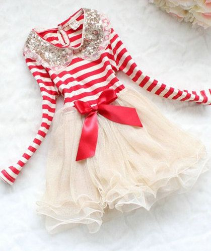 Girls Red Striped Dress- Gold Tutu Dress- Tutu Dress- Long Sleeve ...