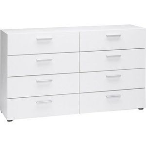 Loft Collection Double 8 Drawer Dresser White