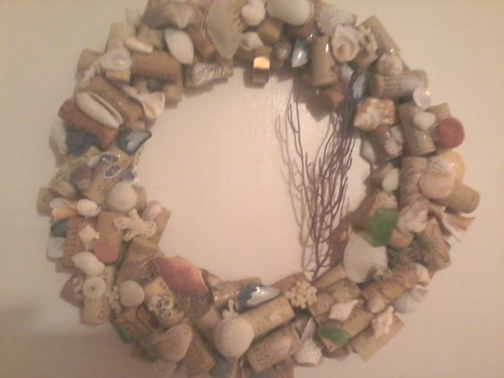 Cork and Shell Wreath by LilBitTidbits on Etsy