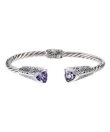 Look at this #zulilyfind! Amethyst & Sterling Silver Filigree Twist Hinge Bangle #zulilyfinds