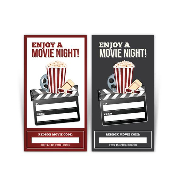 Redbox Gift Card Tag Printable   Popcorn by MarieCoutureDesigns
