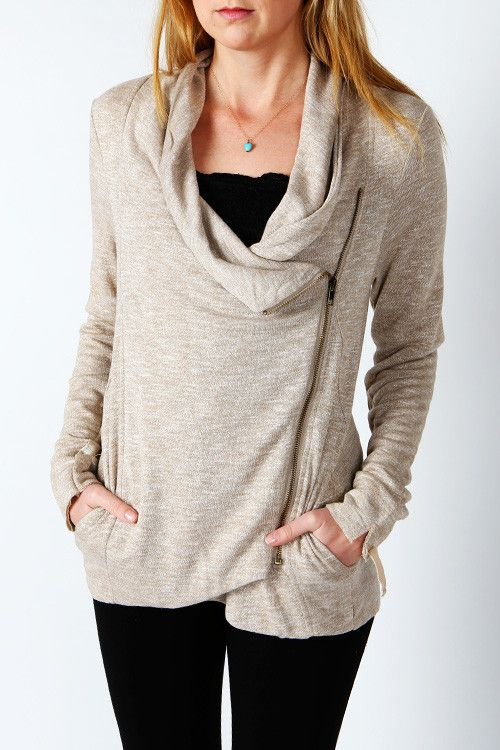 Heathered Side Zip Hi Low Jacket