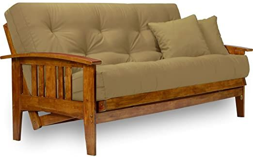 Nirvana Futons Westfield Futon Set With Microfiber Sussex Khaki Mattress Included Full Size Heavy Duty Solid Wood Easily Conve Futon Frame Futon Sets Futon Futon bed with mattress included