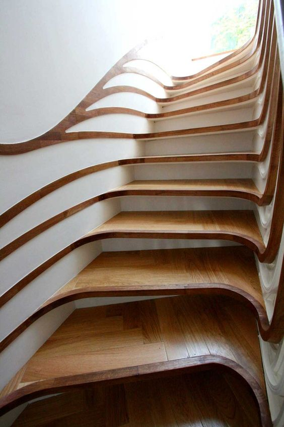 great carpentry Wow! natural wood staircase