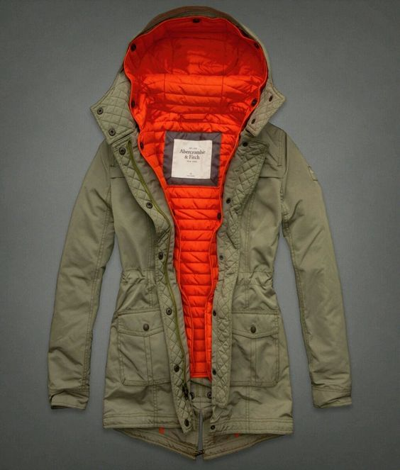 NWT! Abercrombie &amp Fitch Blythe Women Hooded Military Jacket Coat