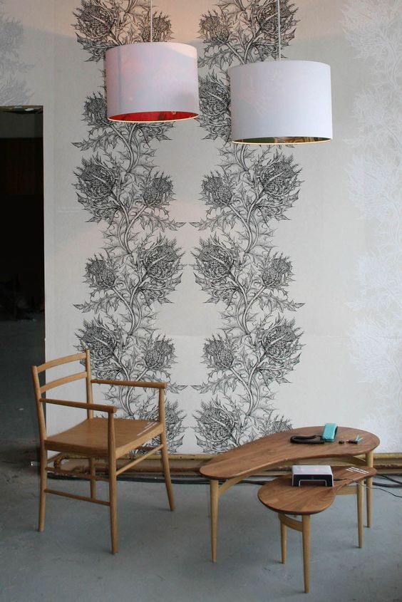 Timorous Beasties Wallcoverings - Thistle Superwide..scottish theme for the dressing room