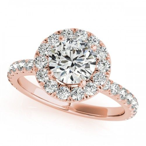 Rembrandt Ring In Rose Gold 14kt Gold Always Free Shipping 100 Day Halo Diamond Engagement Ring Set 14k Rose Gold Engagement Rings Rose Gold Engagement Ring