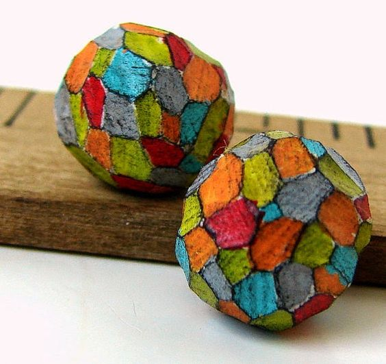 Multi-coloured Facets by Beads by Earth Tones