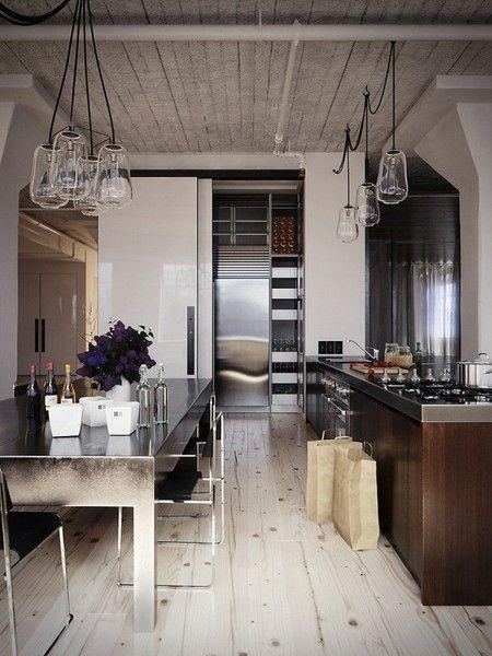 Industrial look. Love the flooring & width of the planks: Interior Design, Kitchen Design, Light Fixture, Rustic Kitchen, Stainless Steel