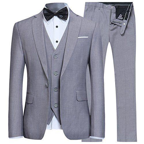 Mens Slim Fit 3-Piece Suit Tuxedo Blazer Jacket Tux Vest /& Trousers Wedding Dresses