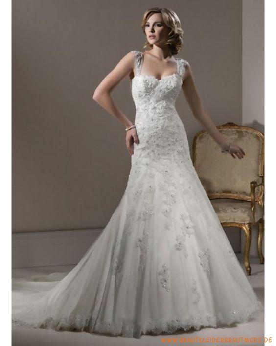 2013 neues Luxuriöse Brautkleid aus Tüll abnembarer herzförmiger Ausschnitt Schmaler A-Linie Rock