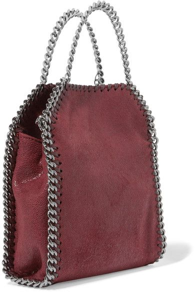 STELLA MCCARTNEY The Falabella tiny sophisticated burgundy faux brushed-leather shoulder bag 2