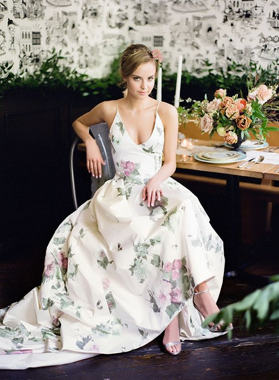 Floral reception dress: