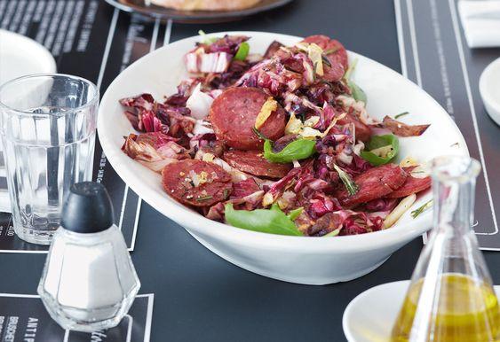 Gebratener Salami-Radicchio-Salat