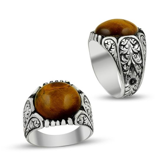 Unique mens ring with amber gemstone by ConstantinopleJewel
