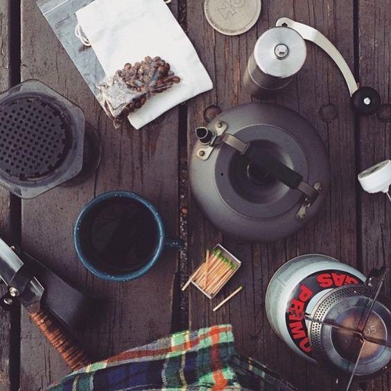 Camp AeroPress coffee ft. Porlex Grinder, Kohi Filter & Enamelwares mug..