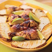 Grilled Beer Chicken with Potato Slabs