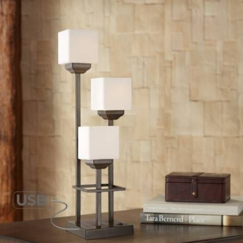 Light Tree 3 Light Bronze Console Table Lamp With Usb 55m39 Lamps Plus Lantern Table Lamp Console Table Lamp Lamp