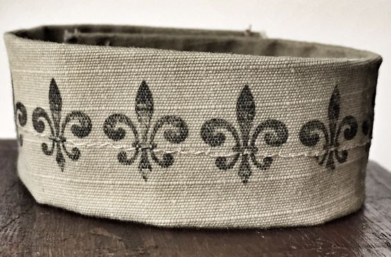 Tan desert camouflage #bracelet made from donated #Navy uniform with Fleur De Lis print. Benefits military nonprofit #MedalsofHonor by #ValorBands on #Etsy