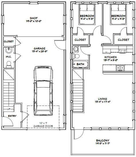 20x40 House 20x40h6a 1 053 Sq Ft Excellent Floor Plans Garage Apartment Floor Plans Apartment Floor Plans Floor Plans