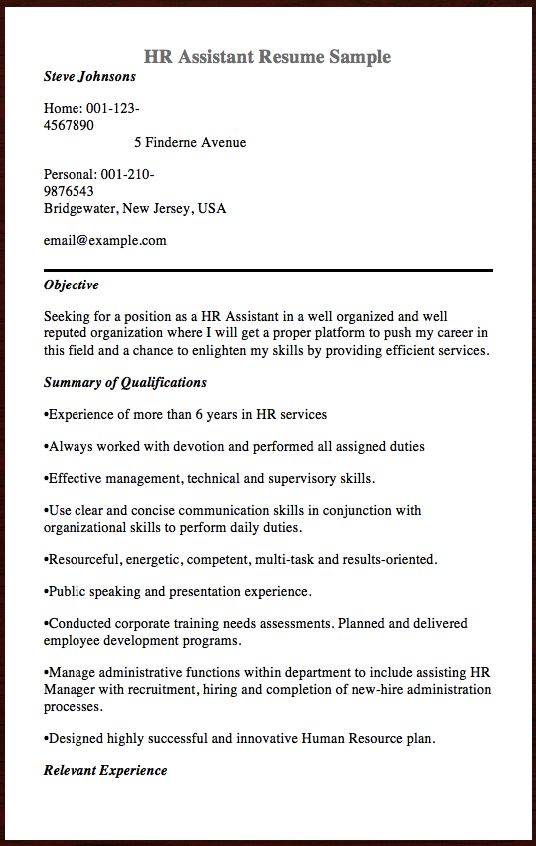 Here is The Free Sample Of HR Assistant Resume, You Can Preview It - a proper resume