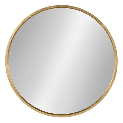 26 X 26 Travis Round Wood Accent Wall Mirror Gold Kate And Laurel In 2020 Round Gold Mirror Gold Mirror Wall Mirror Wall
