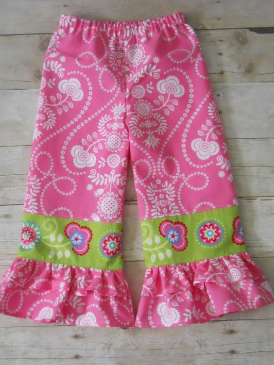 Ruffles Galore Boutique Girls Pants--Limited Edition Pink/Green Border Print --Sizes 2-10 years