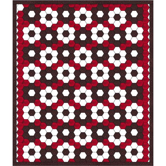 "Free hexagon quilt idea ,""RED&WHITE&BLACK"",design by Dorte Rasmussen Denmark"