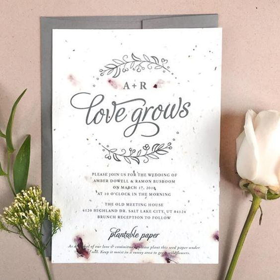 25 Seeds of Love Wedding Invitations - Your Color Choice - Flower Petals - Seed Paper - Love Grows -