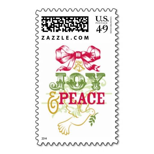Just listed a new Holiday postage stamp design in my shop...Joy and Peace Christmas Postage Stamp