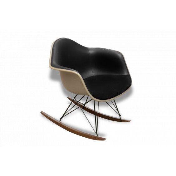 Rocking chair eames vintage herman miller noir fibre de for Fauteuil eames fibre de verre