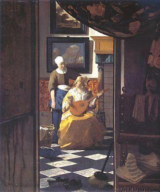 ■ 恋文 (Liebesbrief) 1670年頃 (1669-1671年頃と推測) 44×38.5cm | 油彩・画布 | アムステルダム王立美術館