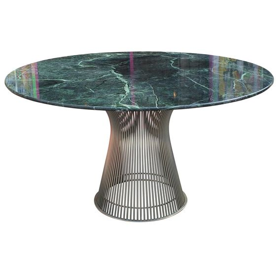 Marque Genuine Marble Top Coffee Table: Iconic Warren Platner Dining Table With Green Marble Top