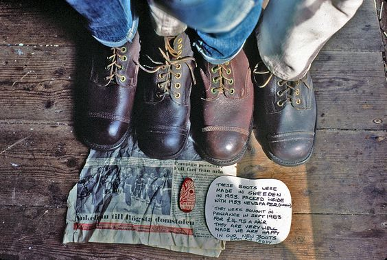 1983. Simon Parker, and Ted Motler. Who fealy Like their Boots, X Army from Swedden. An Old Fashioned Selfie by Ted Motler The Barbican, Penzance, Cornwall.