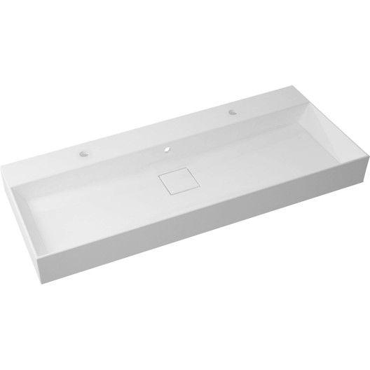 Plan Vasque Simple Resine De Synthese Pure L 120 X P 49 Cm Blanc Plan Vasque Vasque Et Agencement Salle De Bain